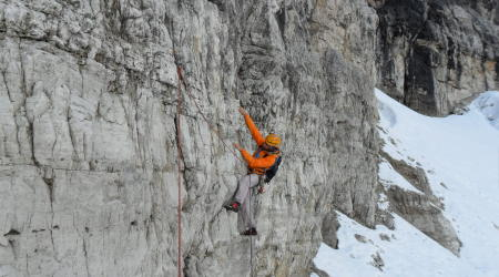 winter climbing in Dolomites